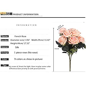 Artificial Silk Fake Flowers Rose Floral Decor Bouquet- 10 Heads Fake Flowers for Decoration in Vase- Silk Flowers in Vase for Home Decor- Dusty Rose Silk Flowers- Bunch Roses (Lilac Pink) 4