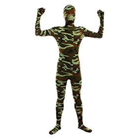 Sheface Kids Spandex Green Camouflage Full Bodysuit Fancy Dress Costume Small P23