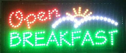 LED Neon Open Breakfasts Sign with Animation and Power (On/Off) Switch and Chain 32