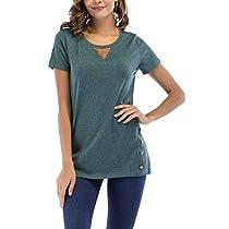 Women Tops Short Sleeve T-Shirt Summer Tees Cotton Tunics with Button Details