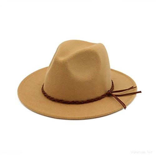 AOBRITON Autumn Winter Felt Flat Top Jazz Hat Fedora Sombrero Imitation Wool Cap by AOBRITON