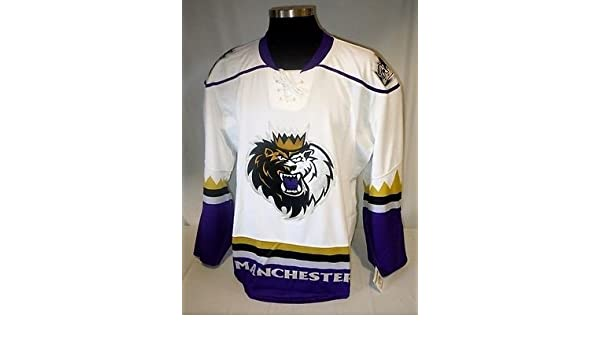quality design 673d8 31d90 Amazon.com: Manchester Monarchs AHL Game Issued White Blank ...