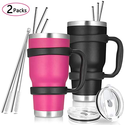 30oz Tumbler, 2 Packs Stainless Steel Double Wall Vacuum Insulated Tumbler Travel Mug With 8Pcs Reusable Straw, 2Pcs Slider Lid, 2Pcs Cleaning Brush, 2Pcs Handles (Black + Rose)