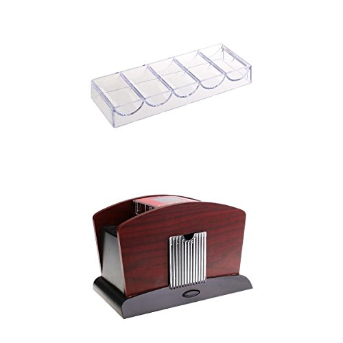 Baoblaze Automatic 1-4 Desk Card Playing Shuffling Machine & Poker Chip Tray Storage by Baoblaze