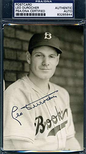 LEO DUROCHER PSA DNA Autograph Photo Postcard Authentic Hand Signed from KHW HALL OF FAME GALLERY