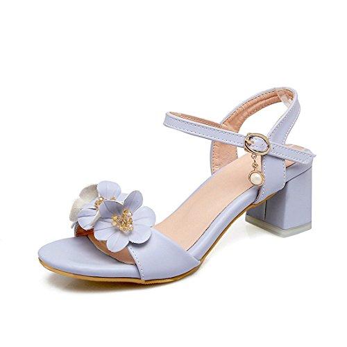 Sandalias Mujer/Sandalia con Pulsera para Mujer/Los Zapatos de Tacón Alto Verano Crudo Dulce con Flores ranurada Grande Captura Astilleros Sandalias Blue