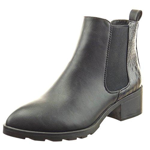 Sopily - Zapatillas de Moda Botines chelsea boots Tobillo mujer piel de serpiente Talón Tacón ancho 4.5 CM - Negro