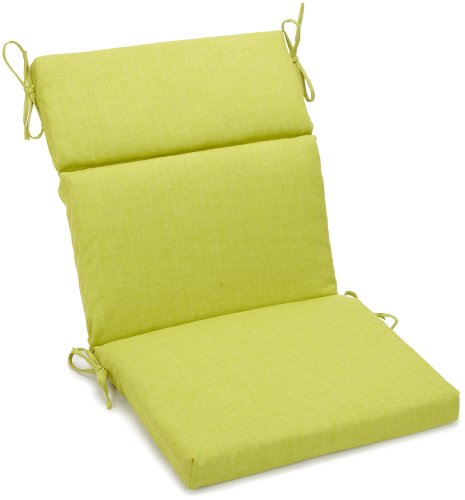 Adirondack Chair Pad - Blazing Needles Outdoor Spun Poly 22-Inch by 45-Inch by 3-1/2-Inch 3-Section Chair Cushion, Lime