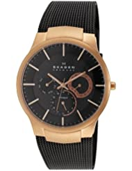 Skagen Mens 809XLTRB Titanium Collection Multifunction Black Mesh Titanium Watch