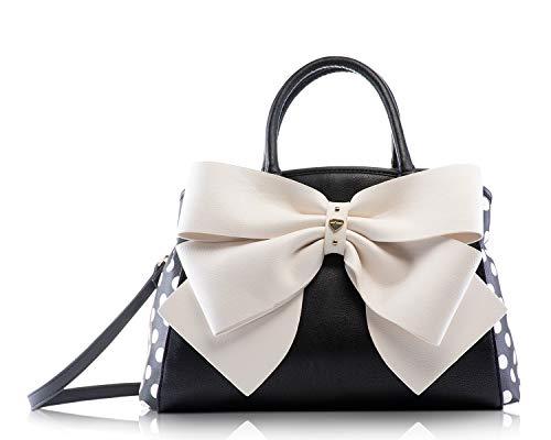 Betsey Johnson Black Cream Double Big Bow Wagon Triple Entry Satchel Shoulder Bag Handbag
