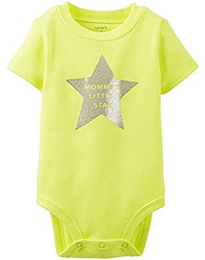 Baby Girls' Slogan Bodysuit (Baby) - Mommys Star - Yellow - Newborn