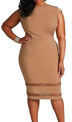 Splice Stretch Khaki Plus Cruiize Solid Mesh Womens Size Bodycon Crewneck Dress Midi nPInqRX