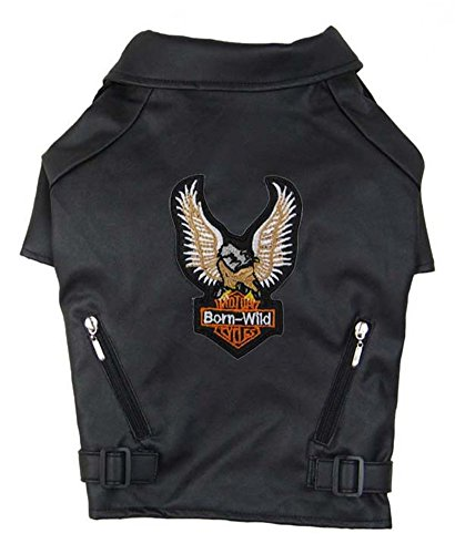 Vedem Dog Leather Jacket Embroidery Eagle Design Pet Coat (S-S, Black) by Vedem