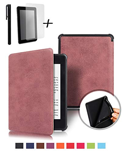 Slim Smart Cover Case Stand for Amazon Kindle Paperwhite 2018 Tablet PC E-Reader, Free Screen Protector and Stylus Pen Included, Prime, Available, Fast Delivery (Maroon) (Maroon Case Paperwhite Kindle)
