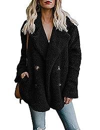 CAIYING Women Fuzzy Fleece Open Front Pockets Cardigan Jacket Coat Outwear