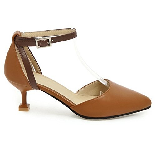 Yellow Court TAOFFEN Women Ankle Strap Shoes TqnFXt4