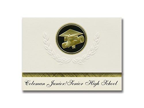 Signature Announcements Coleman Junior/Senior High School (Coleman, MI) Graduation Announcements, Presidential style, Elite package of 25 Cap & Diploma Seal. Black & Gold. by Signature Announcements