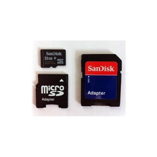 - SanDisk 32GB MicroSDHC High Speed Class 4 Card with MicroSD to SD Adapter and Mini SD Adapter