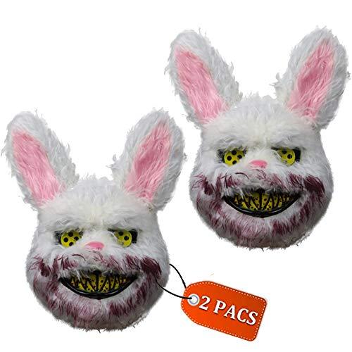 Mr.G 2 PACS Halloween Horror Mask Prank Evil Bloody Rabbit/Bear/Wolf Mask Plush Animal Bunny Scary Mask Horror Killer ()