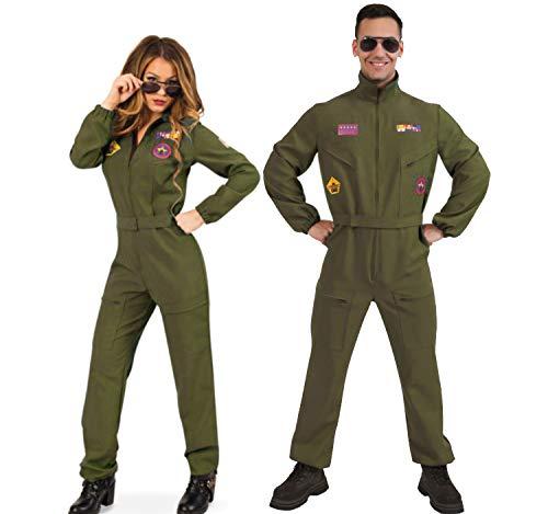 Krause & Sohn Disfraz piloto de combate Gr. 36-42 militares verdes ...