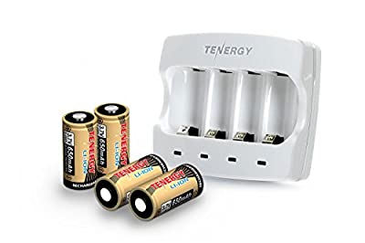 Tenergy Battery Charger + 4 Pack 3.7V 650mAh RCR123A Li-ion Rechargeable Batteries for Arlo Wire-Free HD Security Cameras (VMC3030) UN/UL Listed