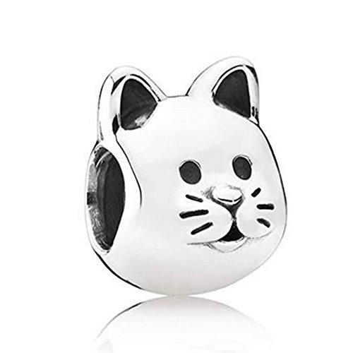Romántico Amor Fit Pandora Bracelets Devoted Puppy Dog/Lucky Elephant/Curious Cat/Sea Turtle Charms Animal Pet Beads(cat)