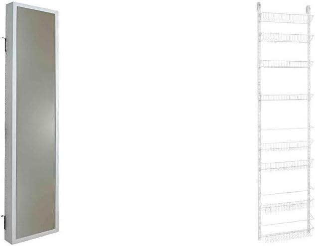 Cabidor Deluxe | Mirrored | Behind The Door | Adjustable | Medicine, Bathroom, & Kitchen Storage Cabinet & ClosetMaid 1233 Adjustable 8-Tier Wall and Door Rack, 77-Inch Height X 18-Inch Wide,White