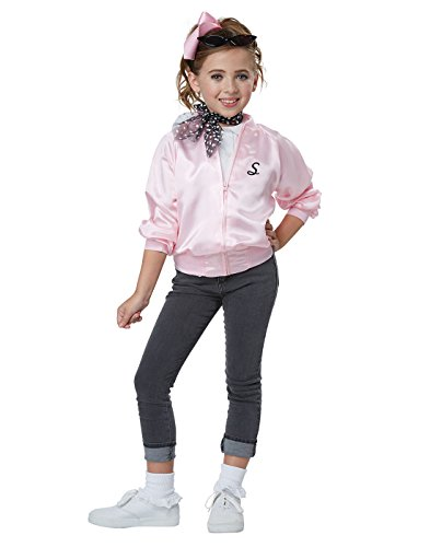 50's Pink Lady Jacket - California Costumes High School s Ladies, Musical 50'S Satin Varsity Jacket Girls Costume, Pink, Small