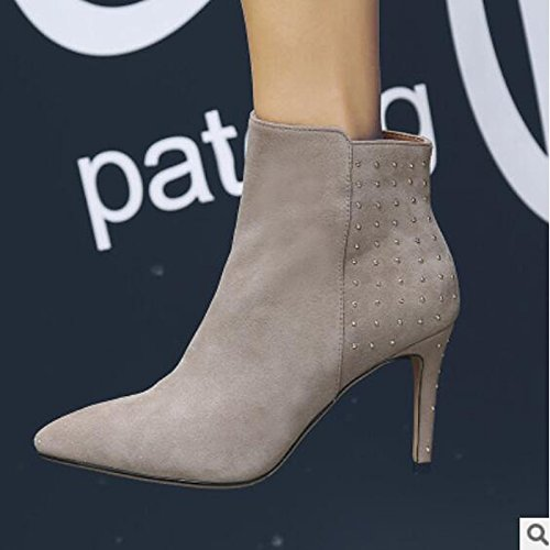 HSXZ Damenschuhe PU Winter fallen Comfort Stiefel Booties/Stiefeletten stiletto-Absatz hingewiesen Toe Booties/Stiefeletten Stiefel für Casual Khaki Schwarz - c0de0c