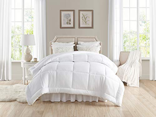 """TAHARI HOME Pre-washed All-Season Extra Soft Comforter - Plush Siliconized Fiberfill - Duvet Insert or Stand-Alone Comforter with Tabs - Machine Washable - hypoallergenic (Full/Queen 90"""" x 96"""", White)"""