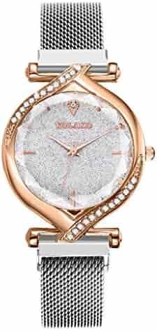 Unisex Luxury Pave Floating Crystal Diamonds Calendar Quartz Watch with Stainless Steel Link Bracelet(Silver)