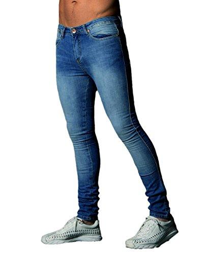 XARAZA Men's Skinny Slim Fit Stretch Jeans Denim Pencil Pants (Dark Blue, US - Men S