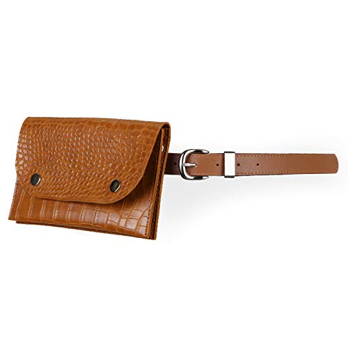 """JASGOOD Fanny Pack for Women Leather Waist Bag Travel Pouch/Purse with Removable Leather Belt Cross Body Chain Belt Bag (Suit for waist size 38""""-44"""", 3-brown-1)"""