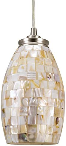 Kira Home Coast 9 Modern Oval Mini Pendant Light Hand-Crafted Mosaic Sea Shell Glass, Satin Nickel Finish Neutral Color