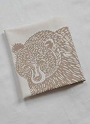 Organic Cotton Bear Tea Towel in Mocha Brown