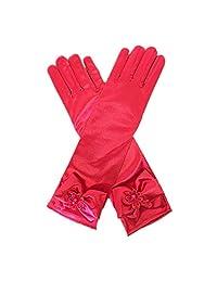 DreamHigh Kids Stretch Satin Long Finger Dress Gloves for Girl Children Party