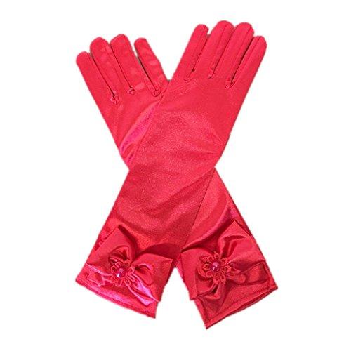 Long Red Nylon Gloves (DreamHigh Kids Stretch Satin Long Finger Dress Gloves for Girl Children Party (Red))