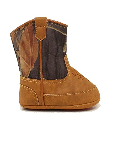 Image of M&F Western Baby Boy's Baby Bucker Gunner (Infant/Toddler) Mossy Oak/Orange Boot 1 Infant M
