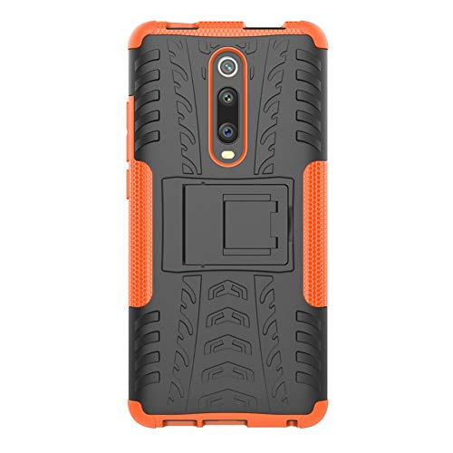 MRSTERUS Xiaomi Mi 9T Case tire Pattern Design Strong Armored Extreme Protective Cover with Removable Bracket Shock Absorption Protective Cover for Redmi K20 Pro Sporty Style (Orange) JX