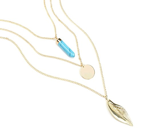 KISSPAT Women's Multi Layered Bohemia Necklace Turquoise Disc Chain with Leaf - Disc Multi Strand