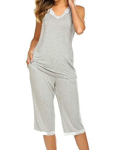 Hotouch Women's Pajama Sets Capri Pants with Tank Tops Cotton Sleepwear Ladies Sleep Sets Grey L