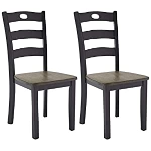 Ashley Furniture Signature Design – Dining Room Side Chair Set of 2 – Black-Brown