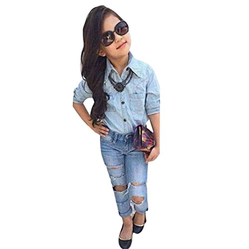 Malltop Baby Girls Clothes Set Fashion Denim Long Sleeve T-shirt + Ripped Jeans Trousers
