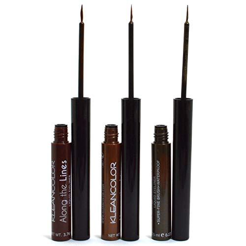 Kleancolor 3 Eyeliner Dark Brown Olive Liquid Eye liner Super fine Brush Waterproof 3LELINER02 + Free Earring