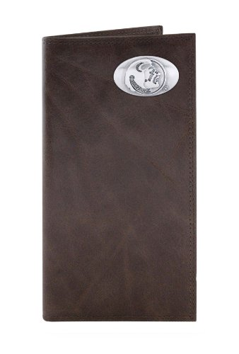 NCAA Florida State Seminoles Brown Wrinkle Leather Roper Concho Wallet, One Size