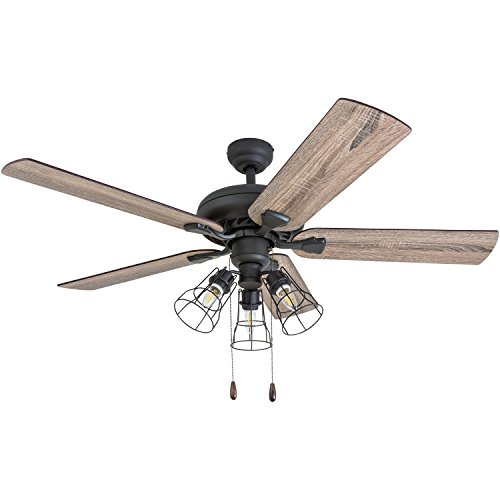 Prominence Home 5058101 Lincoln Woods Farmhouse Ceiling Fan 52quot Barnwood/Tumbleweed Aged Bronze