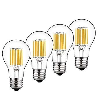 Bonlux 4-pack 10W E27 LED clásico filamento lámpara Natural blanco 4000K GLS A60 tornillo
