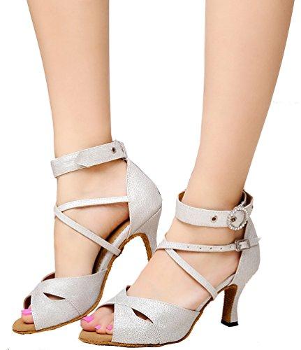 CFP JJ-6214 Womens Latin Salsa Tango Cha-cha Ballroom Kitten Heel Peep-toe PU Professional Dance-shoes Silvery UBGhhA
