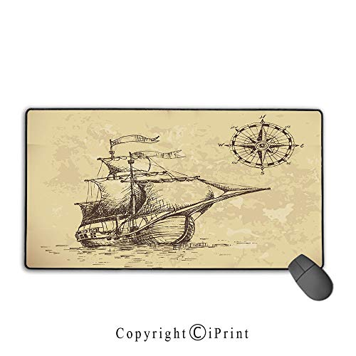 Stitched Edge Mouse pad,Compass,Hand Drawn Old Paper Style Background Ancient Ship Flags Journey Navigation Decorative,Brown Sand Brown, Non-Slip Rubber Base,15.8
