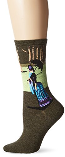 Hot Sox Women's Artist Series Crew Socks | A Sunday Afternoon, Light Turquoise, Shoe Size: 4-10
